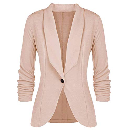 - Women's One Button Blazer Jacket Casual Work Office Suit Jacket Apricot