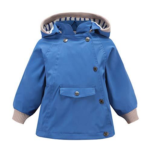 (ACESTAR 100% Waterproof Rain Jacket Coat, Windproof Spring Fall Jacket for Boys Girls Infant Toddler Windbreaker Raincoat(JK005B0,3T) Blue)