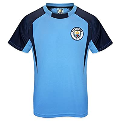Manchester City Football Club Official Gift Boys Poly Training Kit T-Shirt