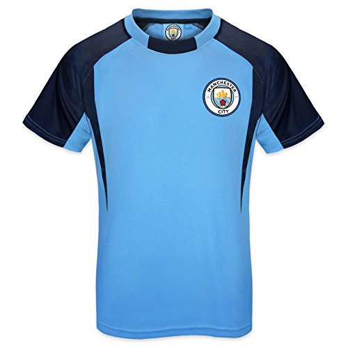 (Manchester City FC Official Gift Boys Crest Poly T-Shirt Sky Blue 6-7 Years SB)