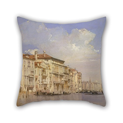 Oil Painting Richard Parkes Bonington - Grand Canal, Venice Throw Cushion Covers 16 X 16 Inches / 40 By 40 Cm Gift Or Decor For Dining Room,bf,husband,floor,kids,gril Friend - Double Sides - Canal Tapestry