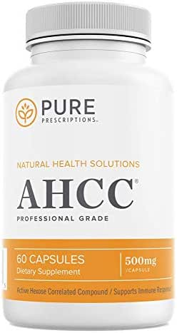 Pure Prescriptions AHCC Mushroom Supplement - Immune Health Booster w/Vitamin C - Promotes Natural Killer Cell Activity, Anti-Inflammatory, Liver Function Support - 60 Veg Capsules