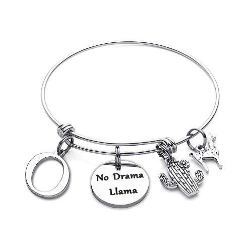 M MOOHAM Llama Gifts Initial Bracelet - No Drama Llama Expandable Charm Bracelet Llama Jewelry Llama Lover Gifts Her