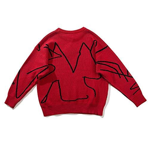 Jacquard Da Con Red Oversize hop In Skkmall A Uomo Manica Lunga Maglione Pipistrello Hip Stile 0f8F5wq