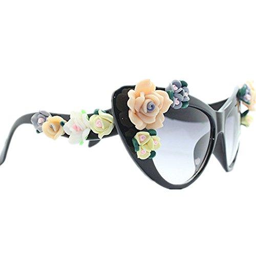 Flower Summer Cat Beach de Protección Gafas Style Lady's Gu sol Eyes Peggy Handmade UV Graceful Gafas sol de Vacaciones qnT4Pc0wxR