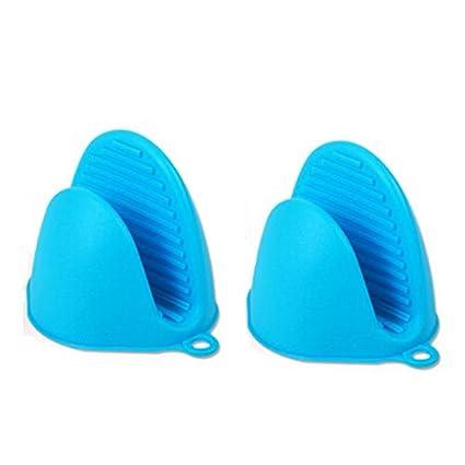 Syga Set Of 2 Silicone Pinch Grip Mitten Oven Mitt Gripper Grip Kitchen Potholder Utensil Tool(Blue)