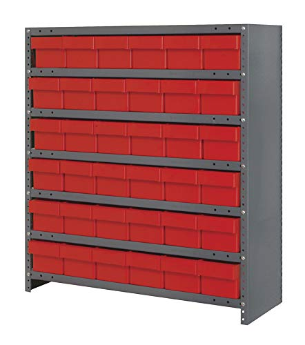 (Quantum Storage Systems CL1239-601RD Closed Shelving System with Super Tuff Euro Drawers, 36 QED601 Shelf Bins, 12