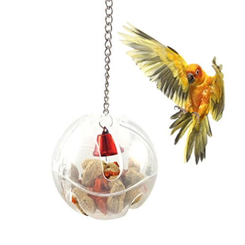 Bird Seed Food Foraging Ball Intelligence Toy for Parrot Conure African Grey Cockatoo Macaw Amazon Budgie Parakeet Cockatiel Lovebird Finch Canary Cage Feeder by Keersi
