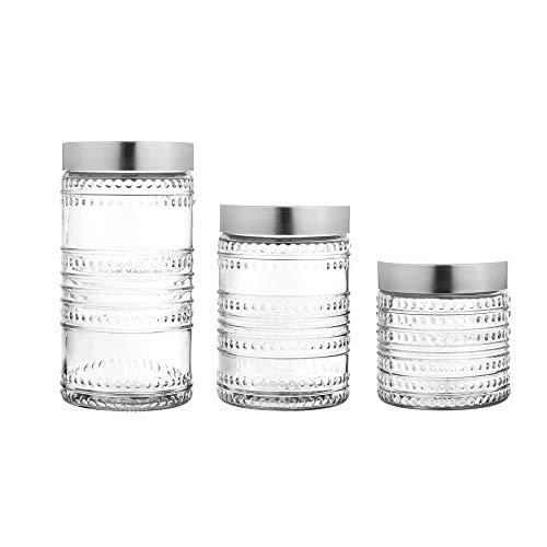 Style Setter Canister Jar Set Beaded Round, Glass Set of 3 59oz, 44oz, 30oz