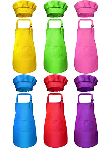 SATINIOR 12 Pieces Kids Apron and Chef Hat Set Adjustable Child Aprons with Pockets Kitchen Bib Aprons for Kitchen Cooking Baking Painting for Boys Girls (Multi-Color, S for 2-6 Age)