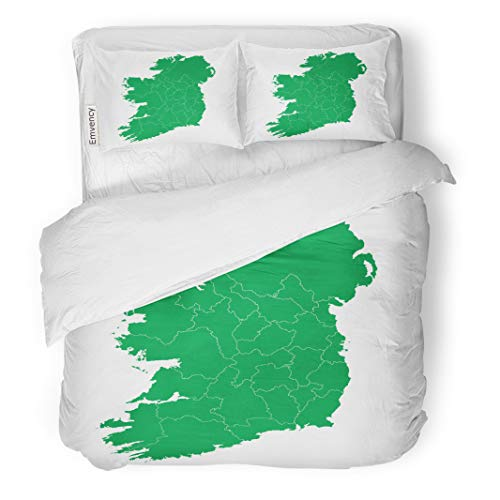 Semtomn Decor Duvet Cover Set Twin Size Irish Republic of Ireland Map High Detailed Green Abstract 3 Piece Brushed Microfiber Fabric Print Bedding Set Cover -
