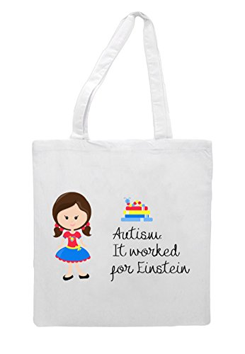 Character Bag Brown Worked G5 Pigtails It Tote Girl For White With Einstein Autism Awareness XRwxqg