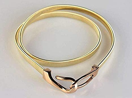 Ladies Women Gold Metal Chain Skinny Elastic Belt Dress Corset Waistband NEW