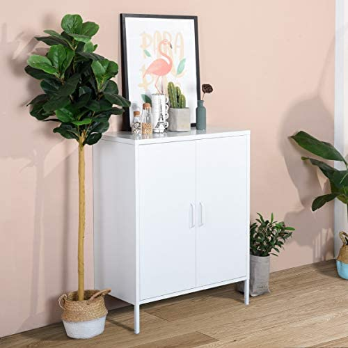 40.2 x 31.5 x 32.1 Inches Homycasa White Floor Storage Cabinet with Double Door and Adjusted 3 Shelf