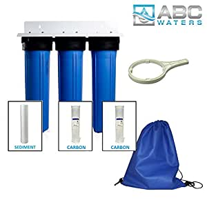 ABCwater built Big Blue Water Filtration System for Whole House Treatment - 5 Micron (3 Stage Filtration)