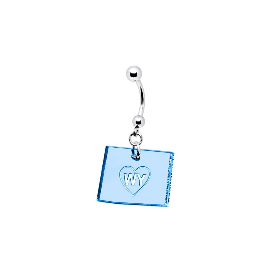 Light Blue State of Wyoming Belly Ring