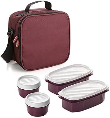 TATAY 1167509 - Urban Food Casual Burdeos - Bolsa térmica Porta Alimentos con 4 tapers herméticos incluidos, 3 litros de capacidad, Color Burdeos, ...