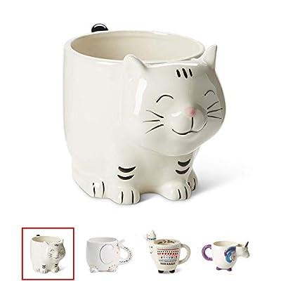 Cat Fan related Products White Ceramic Coffee or Tea Mugs: Tri-Coastal Design Unicorn Coffee Mug with Hand Printed Designs an [tag]