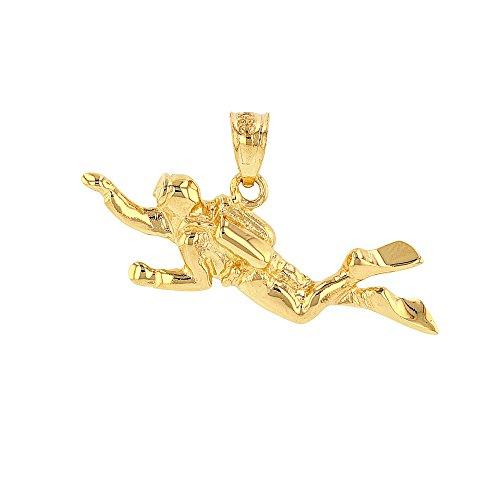 Solid 14k Yellow Gold 3D Scuba Diver Diving Frogmen Charm Pendant Diva Charm Watch