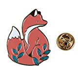 Dolland Cute Fox Enamel Brooch Pin Cartoon Animal Brooch Badge Lapel Pins Jewelry for Girls Women and Children,Gold