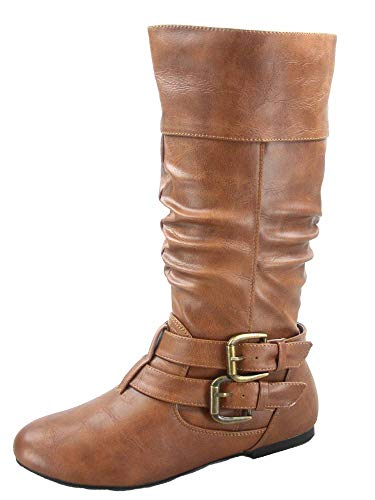 FZ-Sonny-54 Women's Stylish Round Toe Buckle Zipper Slouchy Mid-Calf Riding Boots Shoes (7 B(M) US, Tan)