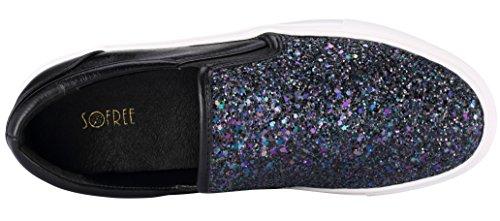 Shoes Black Fashion Sneakers Glitter Sofree On Comfortable Slip Flat Women's 8HTZq7w
