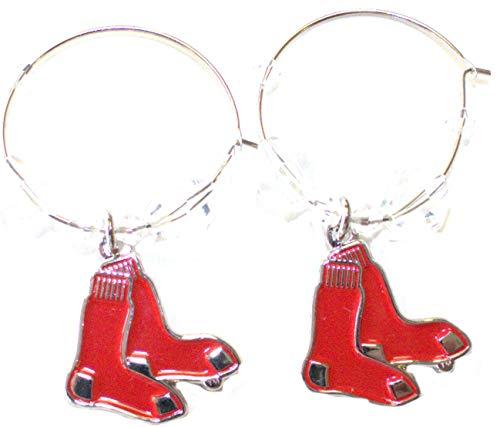 MLB Licensed Clear Bead Hoop Dangle Earrings (Boston Red Sox)