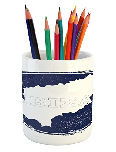 Lunarable Ibiza Pencil Pen Holder, Grunge Style Island Name and Map Southern Spain Vacation Destination Exotic, Printed Ceramic Pencil Pen Holder for Desk Office Accessory, Dark Blue and White by Lunarable