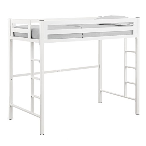 Home Accent Furnishings New Premium Deluxe Twin Metal Loft Bed in White Color