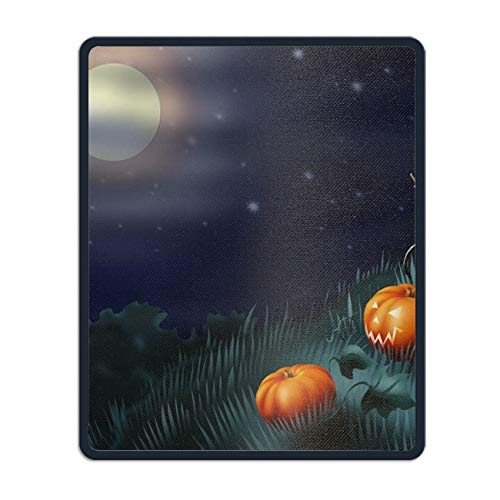 Holiday Halloween Pumpkin Moon Night Mouse Map Pad with Nonslip Base 8.66 x 7.08 inch, Waterproof Mat for Desktop, Laptop, Keyboard, Enjoy Precise & Smooth Operating -