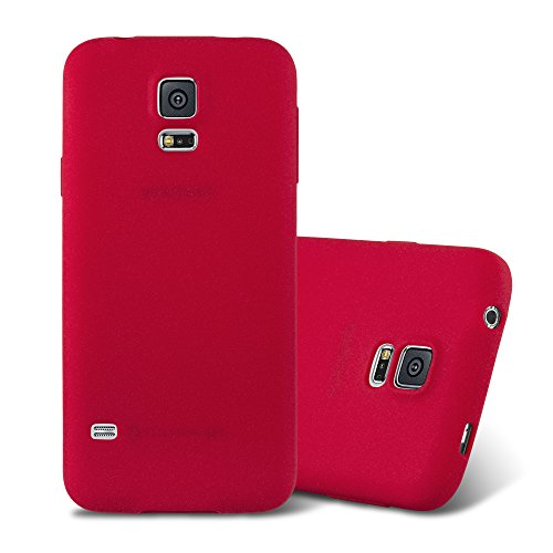 Cadorabo Case Works with Samsung Galaxy S5 / S5 NEO in Frost RED - Shockproof and Scratch Resistant TPU Silicone Cover - Ultra Slim Protective Gel Shell Bumper Back Skin (Galaxy S5 Red Film)