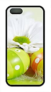 iPhone 5 5S Case Easter holiday eggs flowers TPU Custom iPhone 5 5S Case Cover Black