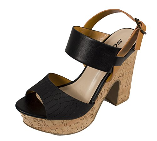 Chunky Cork Heels (Soda Women's Joyful Peep Toe Chunky Cork Heel Slingback Platform Sandal, black snake leatherette, 7.5 M US)