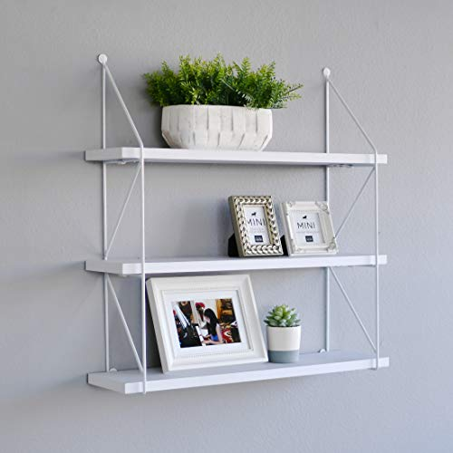 WELLAND 3-Tier Display Wall Shelf Storage Rack Wall Rack Holder Rack, White (Wall Storage Units Mounted Bathroom)