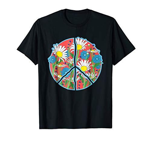 Floral Peace Sign T-Shirt - Retro Daisy Flowers Tee