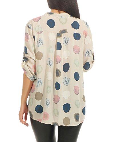 Coton des Blouse Lache Femmes Chemisier t Fit Dots Manches Courtes Lger ZARMEXX Imprimer Beige Tunique Chemise Sq75xq6w