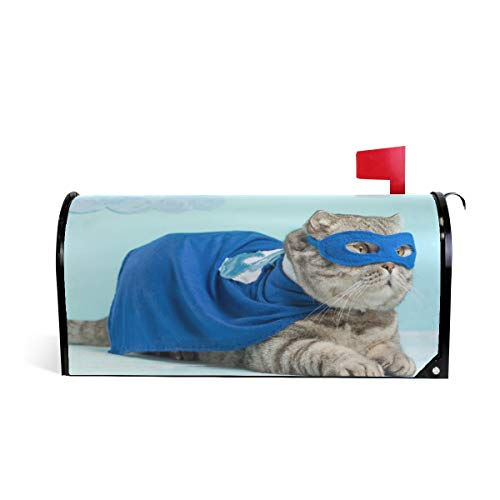 (ZZKKO Magnetic Mailbox Covers Superhero Cat Blue Cloak and Mask Super Cat Letter Box Cover Colorful Painting Graden Outdoor Decorations,25.5x20.8 Inch Large Size,Multicolor)