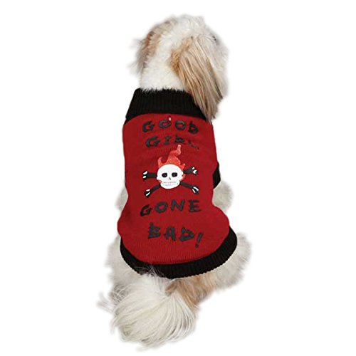 East Side Collection Acrylic Good Girl Gone Bad Dog Sweater, XX-Small, 8-Inch, Red