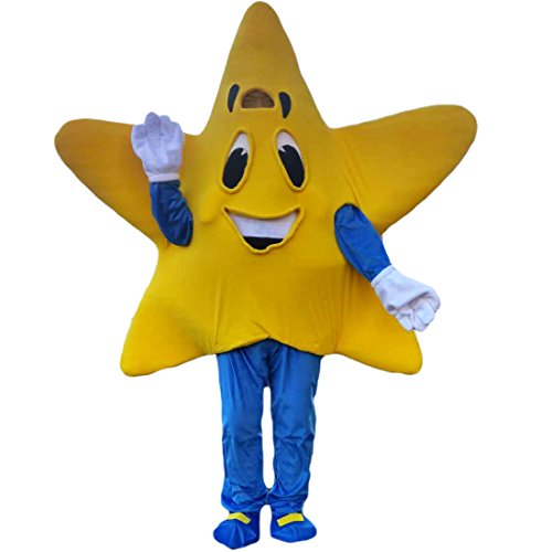Yellow Five-Pointed Star Mascot Costume Cartoon Character Adult Sz Real Picture]()