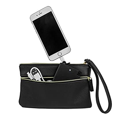 MUNDI Womens Wristlet Wallet Purse With Included Portable Smartphone Charger Power Bank Battery Pack