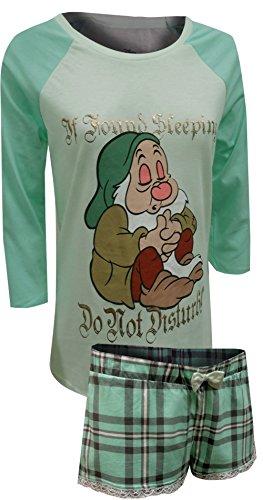 Disney Women's Snow White Sleepy Ls Shorty Set, Mint, MED