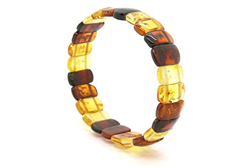 Genuine Natural Baltic Multicolored Amber Stretch Bracelet For Women by AmberDeals