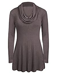 Meaneor Women's Soft Cowl Neck Long Sleeve A-Line Causal Tunic Top