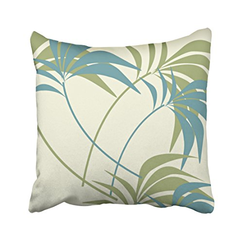 Pakaku Throw Pillows Covers for Couch/Bed 18 x 18 inch,Tropical Teal Khaki Ivory Palm Tree Home Sofa Cushion Cover Pillowcase Gift Decorative Hidden Zipper Design Cotton and Polyester Blended