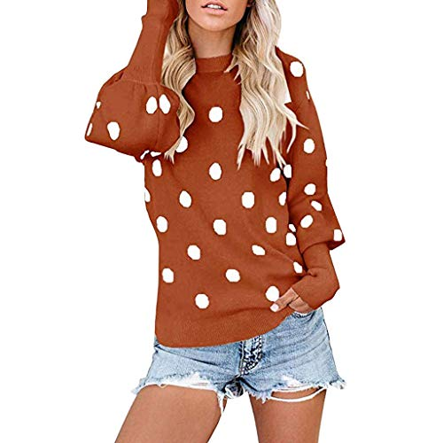 Ultramall Women Knit Sweaters Ploka Dot Lantern Pullover Long Sleeve Scoop Neck Sweater Top