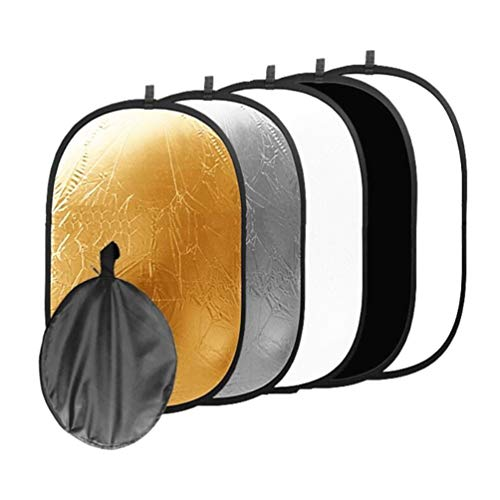 Businesscastle Five in One Photographic Reflector Elliptical Type Reflector Panel Reflector Gold, Silver, White, Black, tr