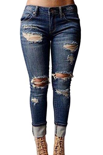 Le Donne Si Elasticizzati Lungo Distrusse Strappato Jeans Blue Buchi v4vwrqA