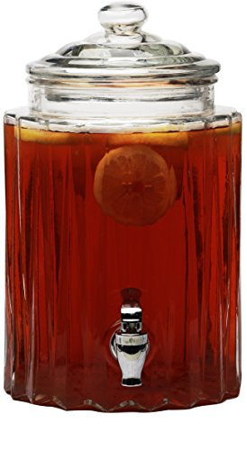 Circleware 69162 Glass Beverage Dispenser with Lid, Fun Party Entertainment Home & Kitchen Glassware Water Pitcher for Juice, Beer, Kombucha & Cold Drinks, 1.4 gal