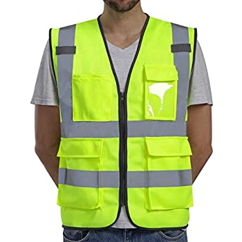 Dib Safety Vest Reflective High Visibility, ANSI Class 2 Vest with Pockets and Zipper, Construction Work Vest Hi Vis Yellow XL