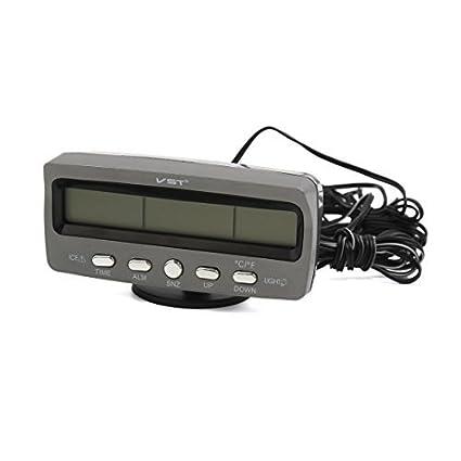 DealMux Grey plástico Eletrônica Digital Relógio de exibição de calendário para Painel do carro